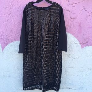 Eloquii beige and black sequin dress
